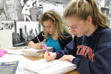 Juniors Emeila Gendreau and Marelie Vorster attend a study session Sunday morning to prepare for the A.P. U.S. History test.